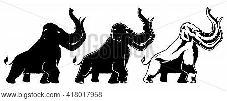 Black And White Illustration Of Cartoon Mammoth In 3 Different Versions.
