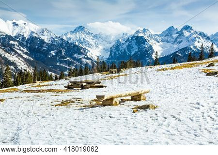 Mountain Glade In Winter Scenery.    Picnic Tables With Banches   Inn White Winter  Landscape Of  Hi