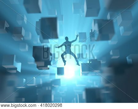 man fall into the digital abyss, 3d illustration