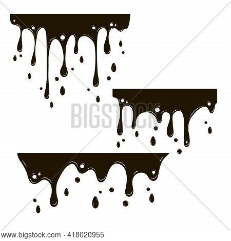 Set Of Drips Of Black Paint On A White Background. Vector Illustration