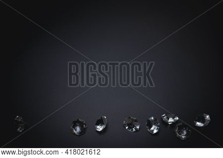 Elegant Background, Template For Text Or Logo. Diamonds On The Black Background. Free Space, Copy Sp