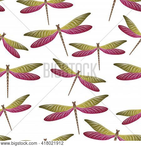 Dragonfly Ornamental Seamless Pattern. Repeating Dress Textile Print With Damselfly Insects. Close U