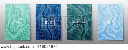 Curve Topography Lines Patterns Vector Cool Covers Set. Geography Magazine Front Pages Topographic M