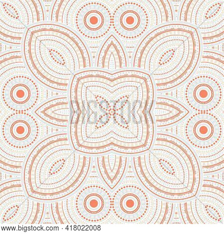 Ornate Moroccan Zellige Tile Seamless Rapport. Ethnic Geometric Vector Swatch. Coverlet Print Design