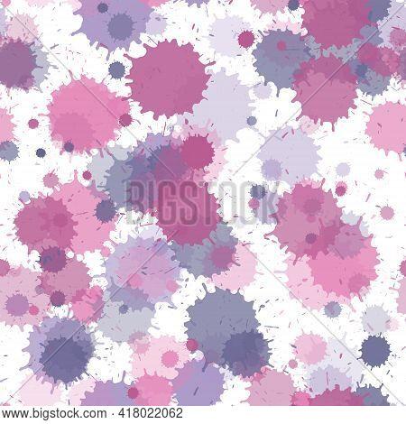 Watercolor Paint Transparent Stains Vector Seamless Wallpaper Pattern. Random Ink Splatter, Spray Bl