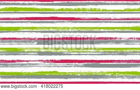 Ink Brush Stroke Grunge Stripes Vector Seamless Pattern. Traditional Serape Ethnic Textile Design. O