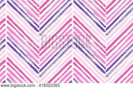 Distressed Zig Zag Interior Print Vector Seamless Pattern. Paintbrush Strokes Geometric Stripes. Han