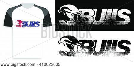 Symbol, Emblem Of Sports American Football With Bull Head And Sports Helmet. Animal Mascot Of Sports
