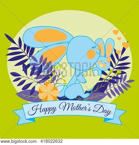 The Mother Rabbit Holds The Baby In Diapers In Her Paws, With A Pacifier In Her Mouth, Surrounded By