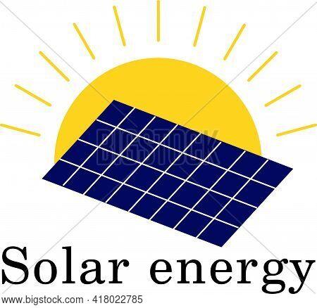 Solar Energy Logo. Solar Panel And Sun Symbol