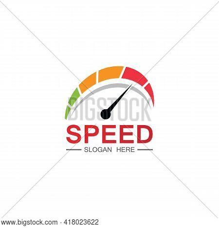 Speed Logo Design, Silhouette Speedometer Symbol Icon Vector,speed Auto Car Logo Template Vector Ill