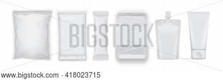 Set Of Clean Blank White Food Packages Isolated On White Background Mock Up Vector