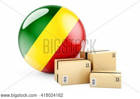 Parcels With Congo Flag. Shipping And Delivery In Congo, Concept. 3d Rendering Isolated On White Bac