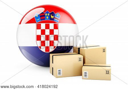 Parcels With Croatian Flag. Shipping And Delivery In Croatia, Concept. 3d Rendering Isolated On Whit