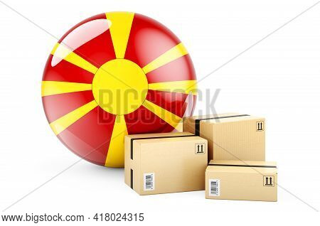 Parcels With Macedonian Flag. Shipping And Delivery In Macedonia, Concept. 3d Rendering Isolated On