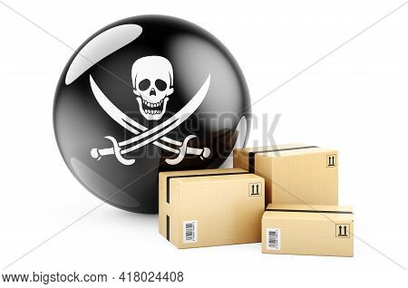 Parcels With Piracy Flag. 3d Rendering Isolated On White Background
