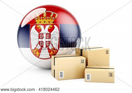 Parcels With Serbian Flag. Shipping And Delivery In Serbia, Concept. 3d Rendering Isolated On White
