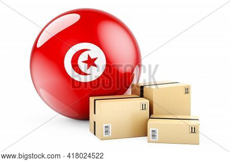 Parcels With Tunisian Flag. Shipping And Delivery In Tunisia, Concept. 3d Rendering Isolated On Whit