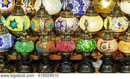 colorful lights in a gift shop in Istanbul Grand Bazaar