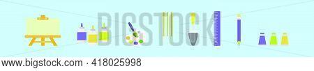 Set Of Creator Essential Cartoon Icon Design Template With Various Models. Modern Vector Illustratio