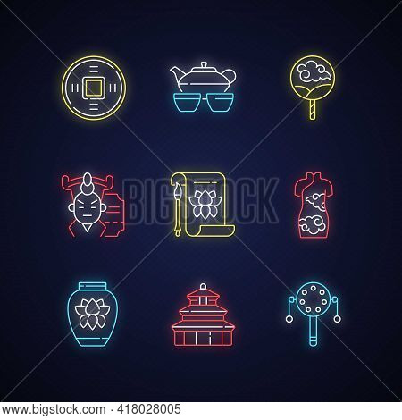 Chinese Traditions Neon Light Icons Set. Ancient Coin. Tea Ceremony. Paper Fan. Cantonese Opera. Tem