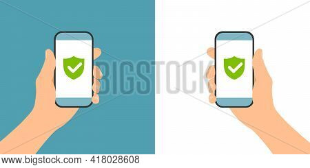 Flat Design Illustration Of Male Hand Holding Phone Secured And Protected By Antivirus Application -
