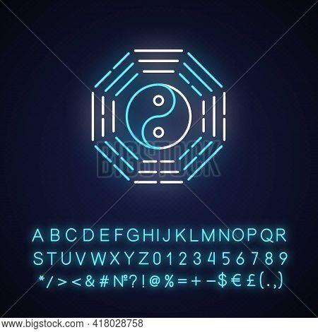 Bagua Neon Light Icon. Harmony Of Elements. Spirituality And Cosmology. Yin Yang Amulet. Outer Glowi