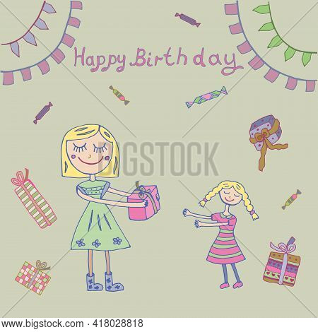 Mom Gives Her Daughter A Birthday Present. Vector Illustration. Isolated. Can Be Used In Your Projec