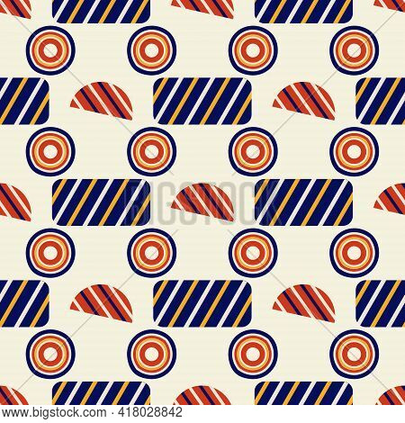 Abstract Pattern Of Multicolored Circles For Fabric Or Packaging On A Beige Background
