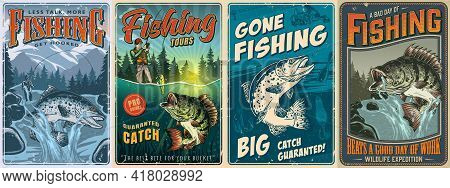 Fishing Vintage Posters Collection With Inscriptions Fisher Caught Perch On Bait Big Rainbow Trout A