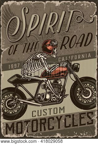 Custom Motorcycle Vintage Poster With Skeleton Motorcyclist In Helmet And Goggles Riding Motorbike V