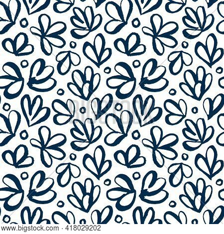 Abstract Blue Japanese Seamless Vector Patterns. Modern Artistic Plants, Flower, Circles Hand Drawn