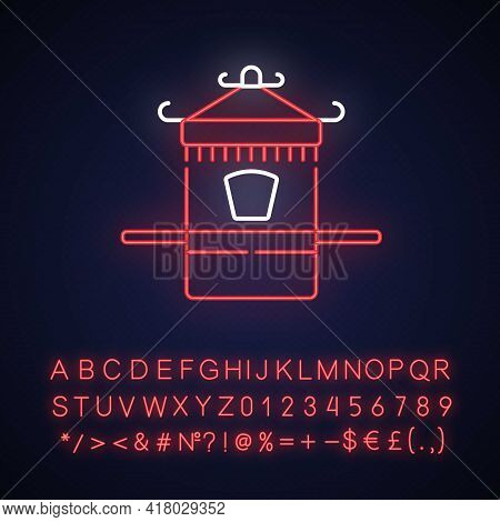 Chinese Sedan Chair Neon Light Icon. Ancient Vehicle For Transportation. Oriental History. Outer Glo