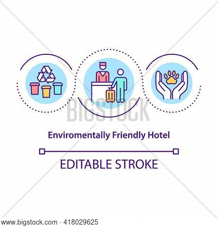 Environmentally Friendly Hotel Concept Icon. Environmentally Sustainable Hotel That Has Made Improve