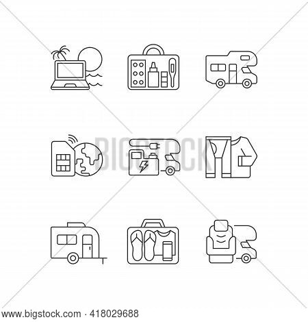 Travel Linear Icons Set. Recreational Vehicle. Campground For Rv. Roadtrip Gear. Nomadic Lifestyle.