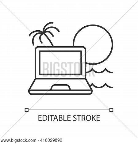 Digital Nomad Linear Icon. Freelancer Laptop. Remote Job. Recreational Trip. Nomadic Lifestyle. Thin