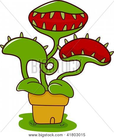 Illustration of a Venus Flytrap with its Mouth Wide Open
