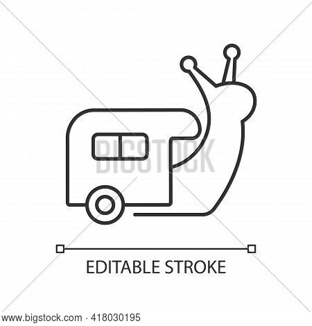 Slow Travel Linear Icon. Recreation And Rest During Tour. Roadtrip In Trailer. Nomadic Lifestyle. Th