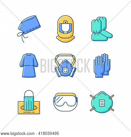 Medical Disposable Covers Rgb Color Icons Set. Surgical Cap And Helmet. Boot Covers. Isolation Gown.