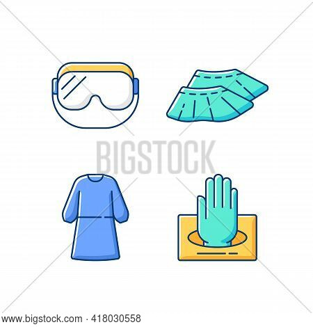 Disposable Medical Wear Rgb Color Icons Set. Protective Goggles. Shoe Covers. Isolation Gown. Steril