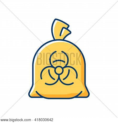 Infectious Waste Bag Rgb Color Icon. Disposable Biohazard Trash. Clinical Garbage, Dangerous Chemica