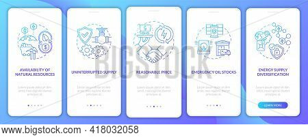 Energy Security Parts Onboarding Mobile App Page Screen With Concepts. Supply Diversification Walkth