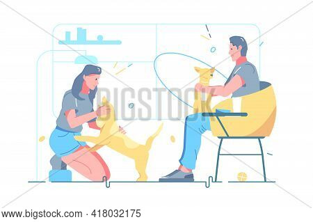 Man And Woman Dog Pet Owners Vector Illustration. Relationship Between Humans And Pets Flat Style. D