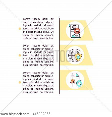 Political Independence Concept Line Icons With Text. Ppt Page Vector Template With Copy Space. Broch