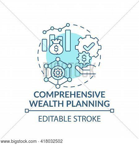 Comprehensive Wealth Planning Concept Icon. Wealth Management Idea Thin Line Illustration. Building