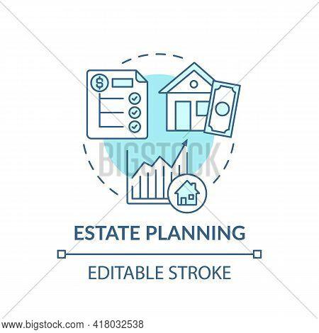 Estate Planning Concept Icon. Wealth Advisory Idea Thin Line Illustration. Decreasing Estate Taxes.