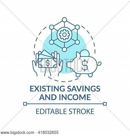 Existing Savings And Income Concept Icon. Wealth Plan Idea Thin Line Illustration. Achieving Financi