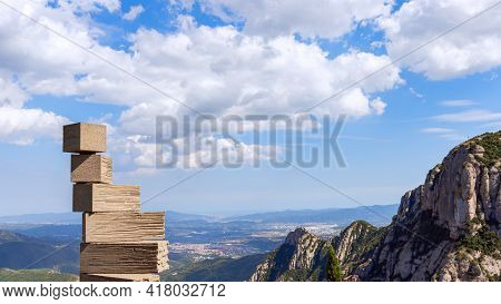 Montserrat, Barcelona - Spain. July 15, 2020: Contemporary Sculpture On The Hill In Abbey Of Montser