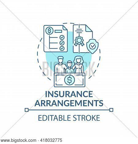 Insurance Arrangements Concept Icon. Comprehensive Wealth Planning Element Idea Thin Line Illustrati