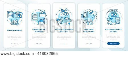 Prosperity Advisory Duties Onboarding Mobile App Page Screen With Concepts. Estate, Philanthropy Wal